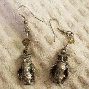 Jewelry - Pewter owl earrings